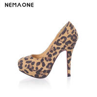Big Size 34 43 Vintage Style Woman Small Platform Women S Pumps Lady S Sexy Leopard