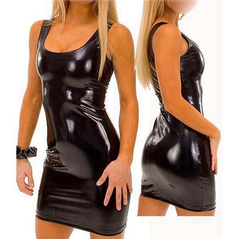 pu faux leather erotic club mini Dress Women wetlook Hot Sexy latex clubwear pvc Lingerie Catsuit shiny dress Pole costumes xxxl in Babydolls Chemises from Novelty Special Use