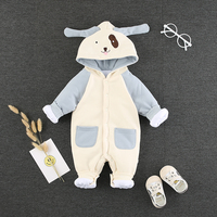 2018 Winter Thickening Baby Onesies Long sleeved Hooded Long Romper Baby Infant Clothes Cotton One Generation