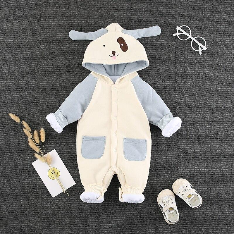 2018 hiver épaississement bébé onesies à manches longues à capuche longue barboteuse bébé vêtements pour bébés coton une génération