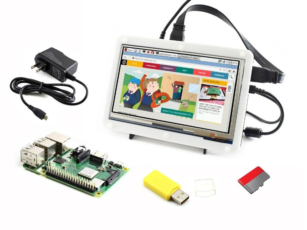 3 Raspberry Pi Modelo B + Kit de Desenvolvimento de Tipo F inclui 7 polegada HDMI LCD (C) caso Bicolor 16 gb cartão Micro SD Adaptador de Energia ect