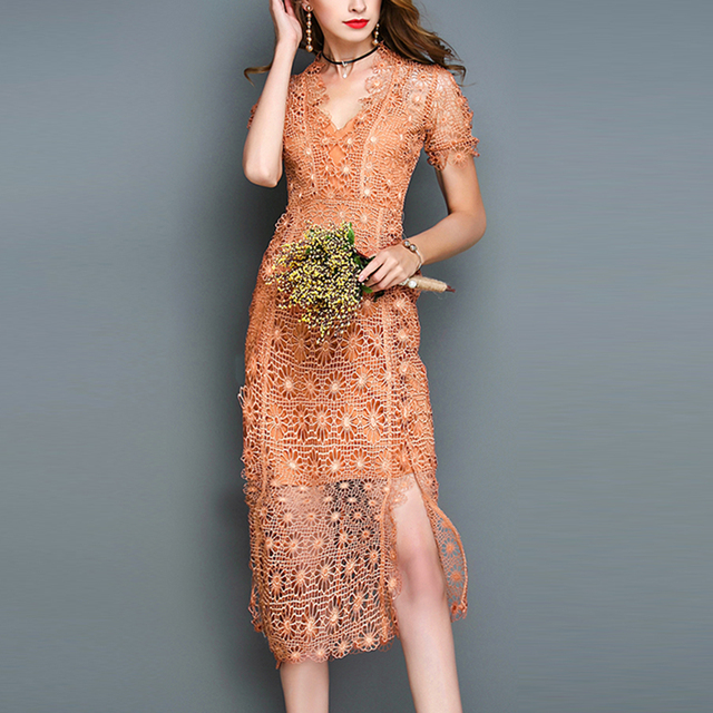 Пикантные кружевные платья лето 2017 Красивая v-образным вырезом High Street выдалбливают Сплит короткий рукав Новинка коричневый платье женские