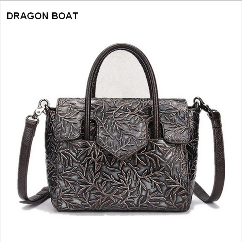 Women handbags Genuine Leather Bags Fashion Designer Female Famous Brand Messenger Bag Small Casual Totes Embossed Floral 2017 new casual women shoulder bags famous brand fashion designer handbag solid genuine leather bag totes bolsos mujer