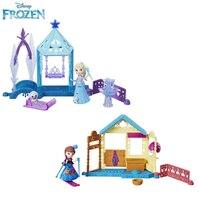 Disney Frozen Princess Elsa and Anna Mini Doll House Kit Scene Home for Doll Hot Toys for Children
