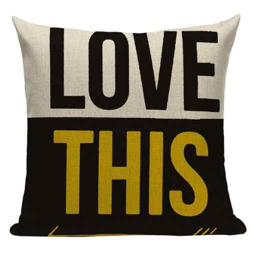Alphabet Style Mustard Yellow Cushion Cover Cushions Home Cafe Decor Pillow Cover Outdoor Cushions Y996