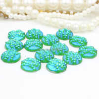 Free shipping  30pcs light green12mm AB Flatback Resin Round Stone beads for DIY craft