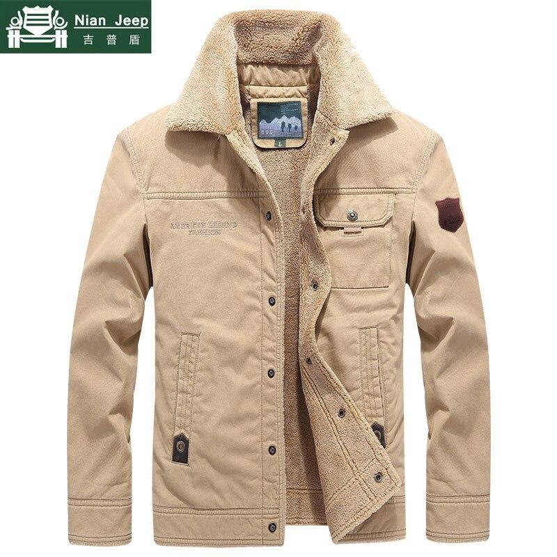 US $32.88 53% OFF 2019 Winter Outwear Jacket Men Thicken Wool Liner Warm Coat Male Windbreaker Military Men Jacket chaqueta hombre Plus Size M 6XL in