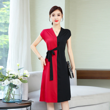 Red Fake Silk Chiffon Sleeve Dress Women Plus Size V-neck Bodycon 2019 Summer Party Dresses Sleeveless Elegant Vintage Clothing
