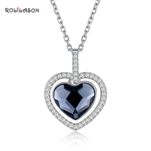 купить 925 sterling silver Heart shaped blue zircon for ladies pendent necklace wedding gift fashion jewelry SP50 по цене 1456.33 рублей