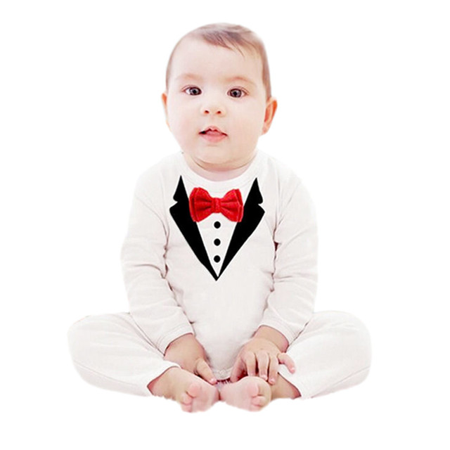 a8951b89c528 Bow Tie Tops Overalls Gentleman Clothes Newborn Kids Baby Boy Girl ...