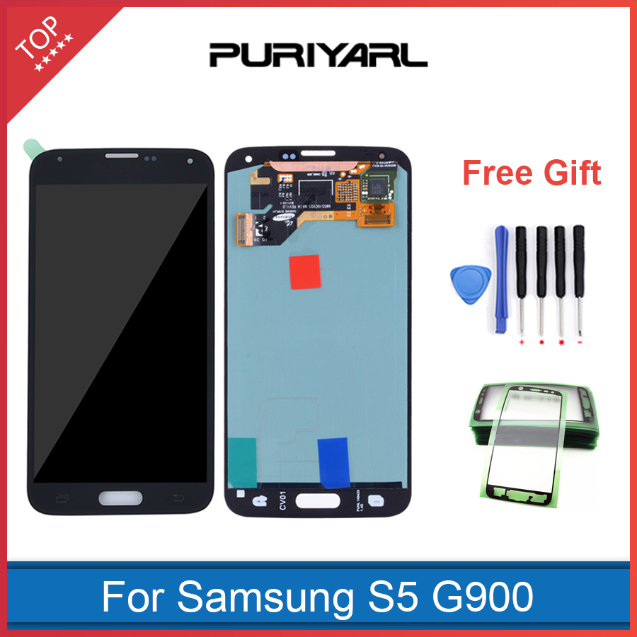 100% Original Super AMOLED for Samsung Galaxy S5 LCD Display Touch Screen Digitizer i9600 SM G900 G900F With Home Button
