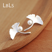 LBLS Real 925 Sterling Silver Ginkgo Leaf Stud Earrings Chinese Flower Style Simulated Pearl Sterling Silver