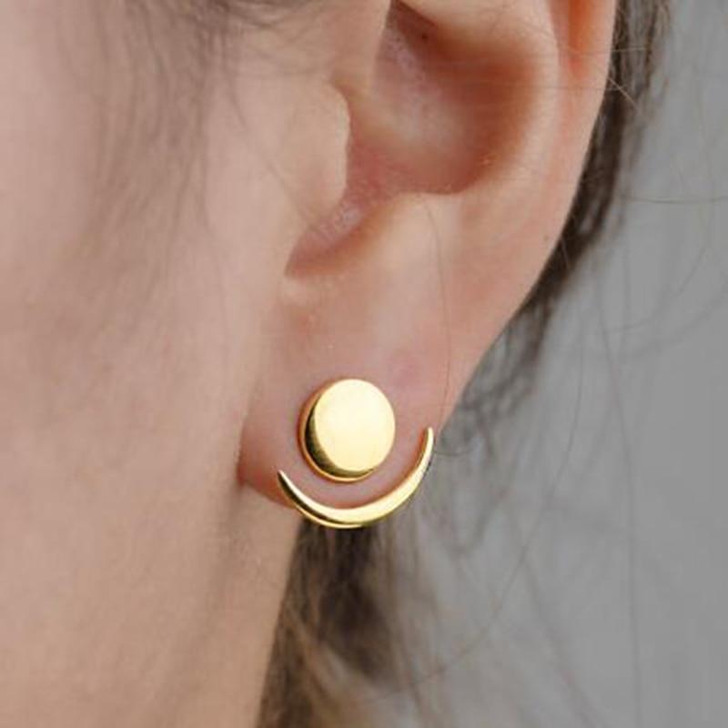Jisensp Trendy Crescent Moon Phase Earrings Cute Ear Jackets Geometric Round Stud Earrings for Women Sun Moon Set Earing Gifts(China)