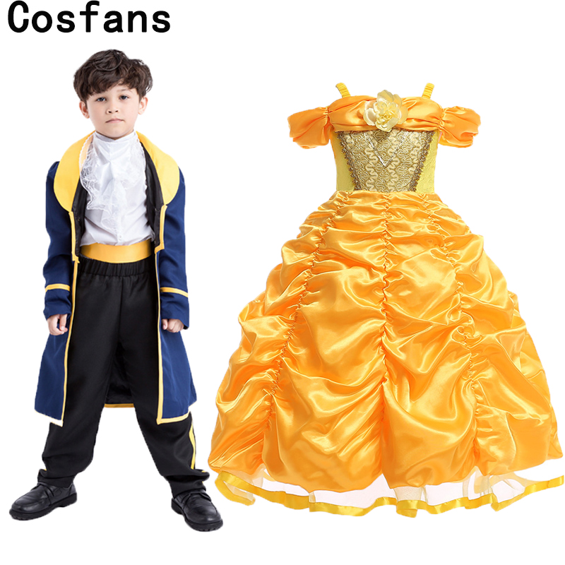 New Kids Boys Beauty and The Beast Costume Child Book Week Prince Cosplay Fancy Dress Girls Princess Belle Christmas Vestidos