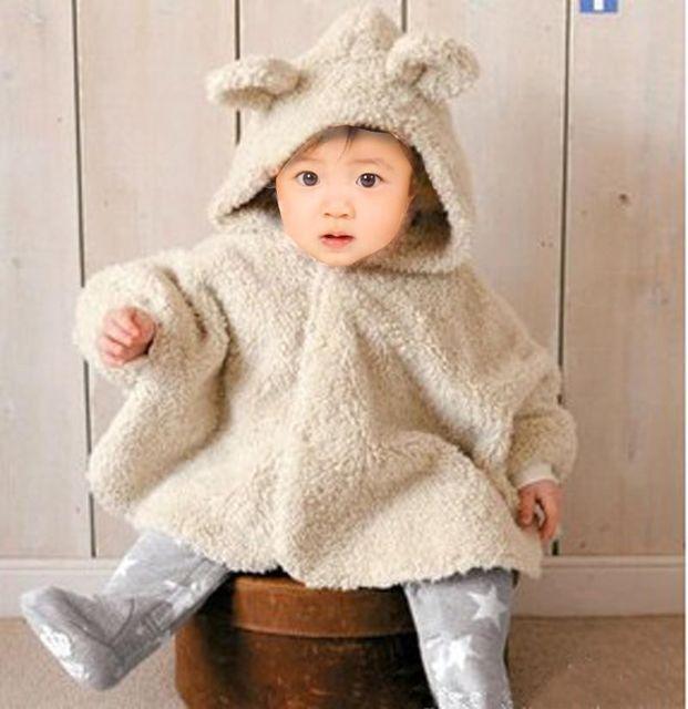 2016 Capote del bebé niños prendas de vestir exteriores del cabo ropa de abrigo de terciopelo espesó chaise hoodie del mameluco caliente Poncho outwear chaqueta térmica