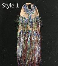 Colorful Fringes Rhinestones Bodysuit Women Stage Dance Costume Nightclub Dance Female Singer Show Bright Leotard