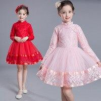 Dzieci Dziewczyny Ubierają 2017 Nowe Zimowe Dzieci Odzież Czerwone Kwiaty Księżniczka Dorywczo Koronki Tutu Sukienka Cheongsam Szczotkowanego Ubranka dla dzieci