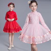 Kids Girls Dress 2017 New Winter Children Clothing Red Flowers Princess Casual Cheongsam Brushed Lace Tutu Dress Kid Clothes