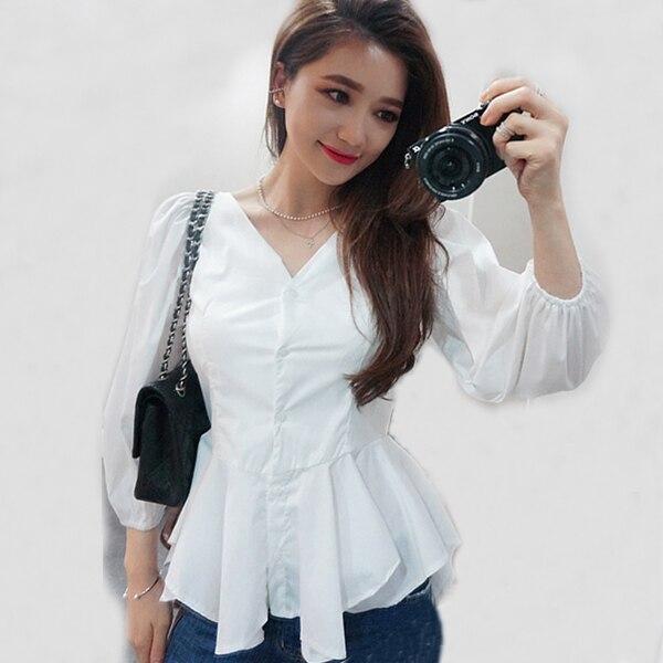 Peplum top White shirt for women black shirt women s blusas femininas  Camisas Roupas black blouse camisas 430153da9dd9
