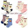 Venta al por menor 3 par/pack 1-4 años calcetines modelos lindos niños bebé bebé niños peinados de algodón Unisex otoño invierno primavera otoño