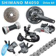 SHIMANO ALIVIO M4050 Mountain bike shift drive kit crankshaft sprocket 3X9 27 speed bicycle parts derailleur kit