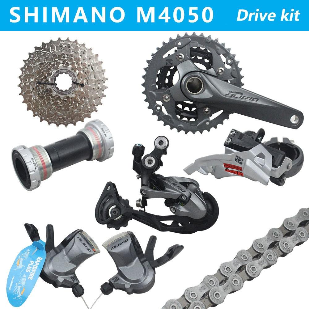 SHIMANO ALIVIO M4050 vtt changement lecteur kit vilebrequin pignon 3X9 27 pièces de bicyclette de vitesse dérailleur kit
