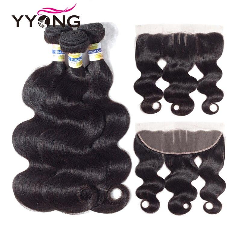 Yyong Extension de Cheveux Péruvienne Cheveux Bundles Avec Frontale Vague de Corps de Cheveux Humains Bundles 3 Bundels Avec 13X4 Dentelle frontale Fermeture