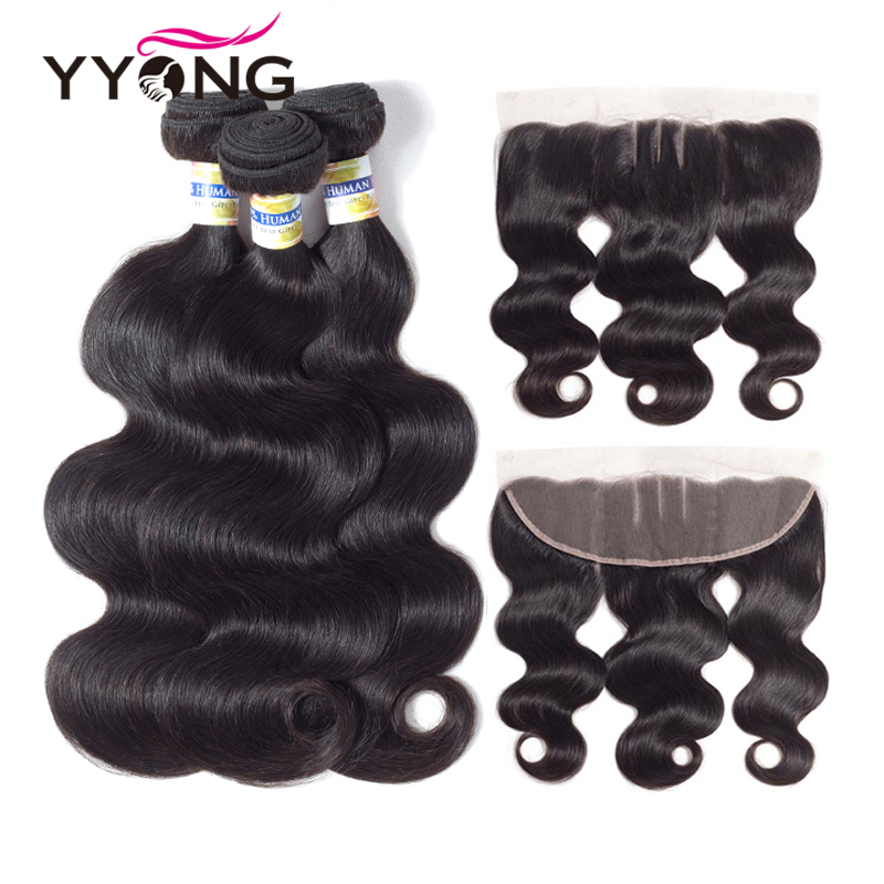 Yyong Hair Extension Peruvian Hair Bundles With Frontal Body Wave Human Hair Bundles 3 Bundels With 13X4 Lace Frontal Closure