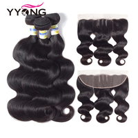 Yyong Hair Extension Peruvian Hair Bundles With Frontal Body Wave Human Hair Bundles 3 Bundels With 13X4 Lace Frontal Closure