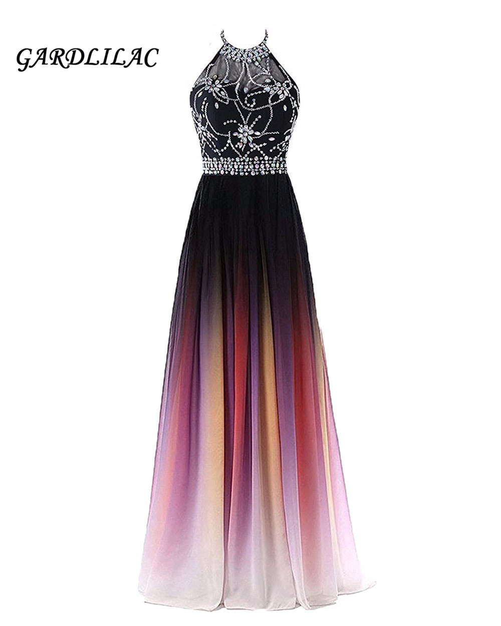 Halter Beaded Gradient Chiffon Evening Dresses 2019 Sequins Prom Dress Plus Size Ombre Prom Long Elegant Dress