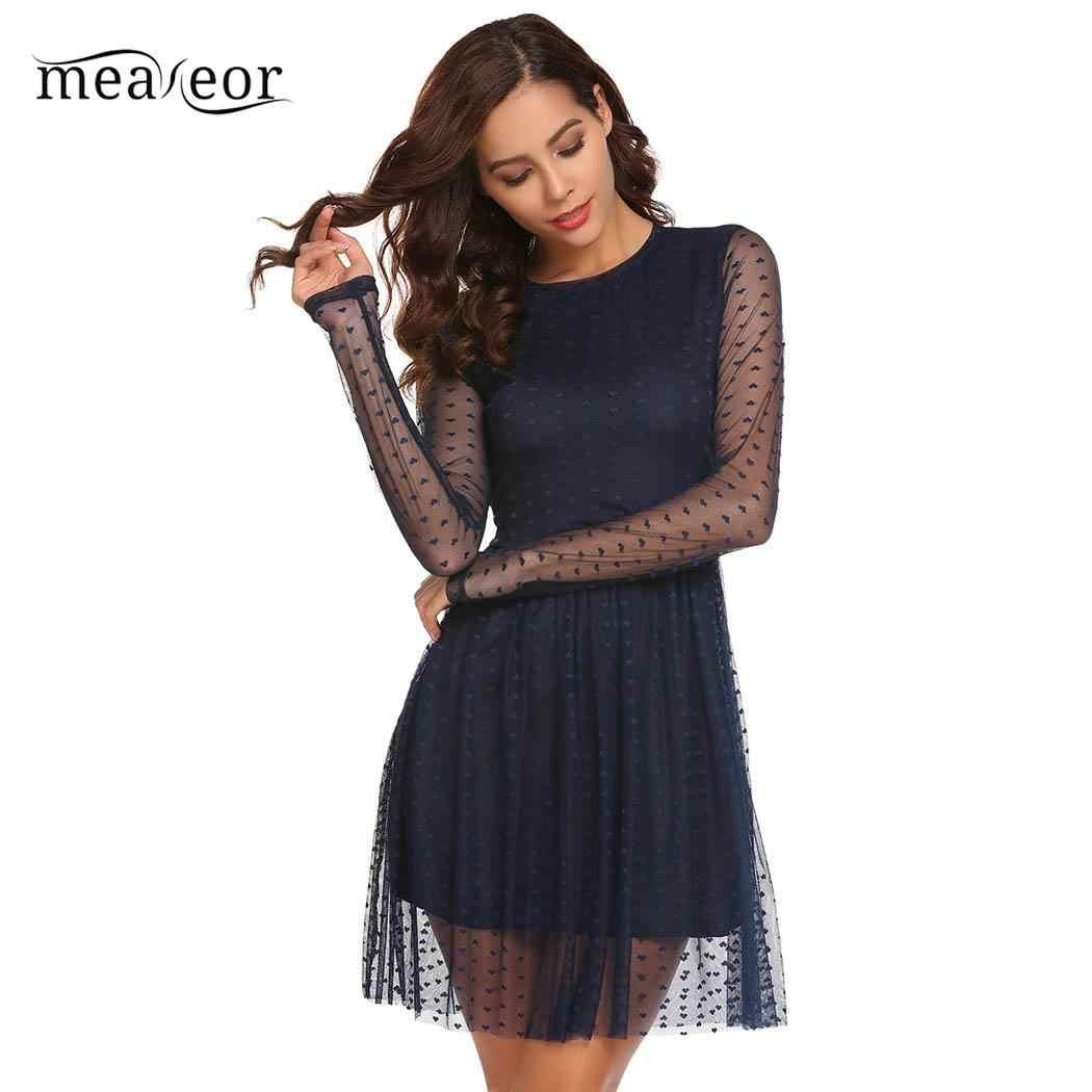 Meaneor Casual O-Neck Women Dress Long Sleeve Autumn Dress Heart Out Mesh layer  Women be672dff4a1b