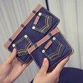 Nueva Lona de La Manera Jeans Monedero Mujeres Retras Denim Multifunción Titular de la Tarjeta Monedero Larga cartera de La Moneda Para Las Muchachas Corto Femenino Embrague Billetera