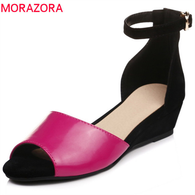 8fb0bf34c875 MORAZORA 2018 hot sale women sandals fashion mixed colors peep toe summer  comfortable wedges shoes simple