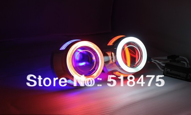 Free shipping H1 HB3 H4 H7 HB4 9007 2.8'' inch Bi Xenon Lens Projector CCFL Double Angel Eyes royalin bi xenon projector lens h1 for mc r double angel eyes ccfl halo rings white red blue w led demon evil eyes h4 h7 bulbs