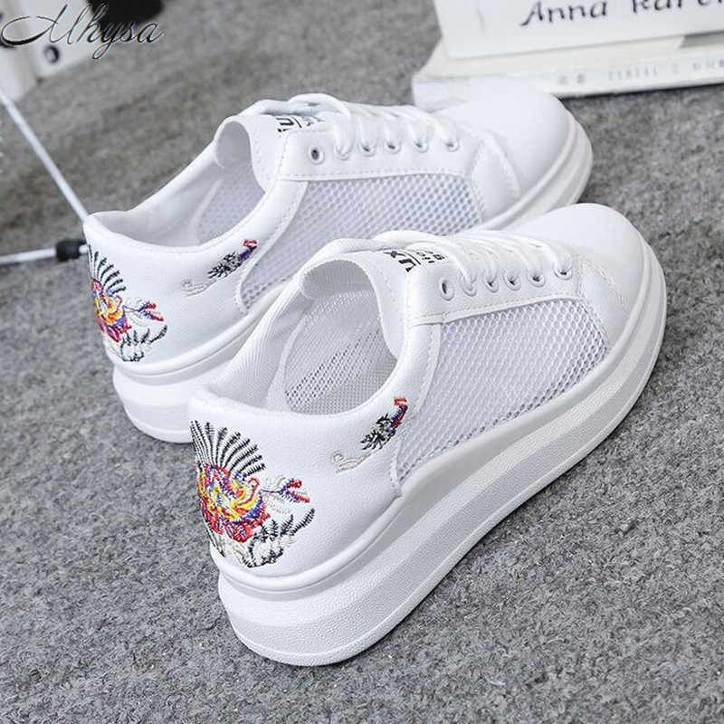 2019 נשים סניקרס אופנה Breathble רשת נשים של גופר נעלי פלטפורמת תחרה עד נעליים יומיומיות אישה off לבן Tenis Feminino
