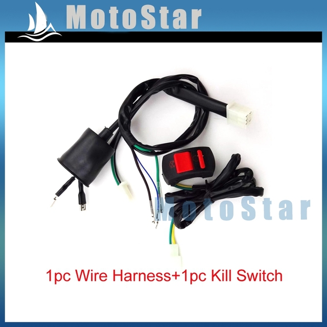 Kill Stop Switch + Wiring Loom Harness For Chinese 50cc 70cc 90cc