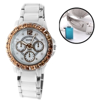 Water Resist White Dial Ceramic Topaz Crystal Bracelet Watch Women 2017 Ladies Watches Montre Femme Horloge