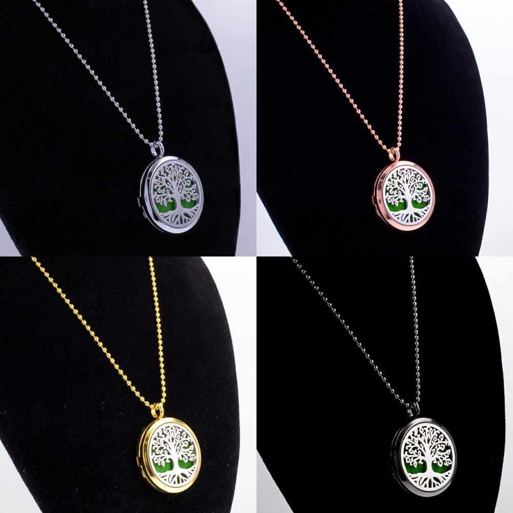 Baru Clover 30 Mm Silver/Rose Gold/Emas/Hitam Warna Pohon Kehidupan Liontin Diffuser Minyak Esensial liontin Kalung