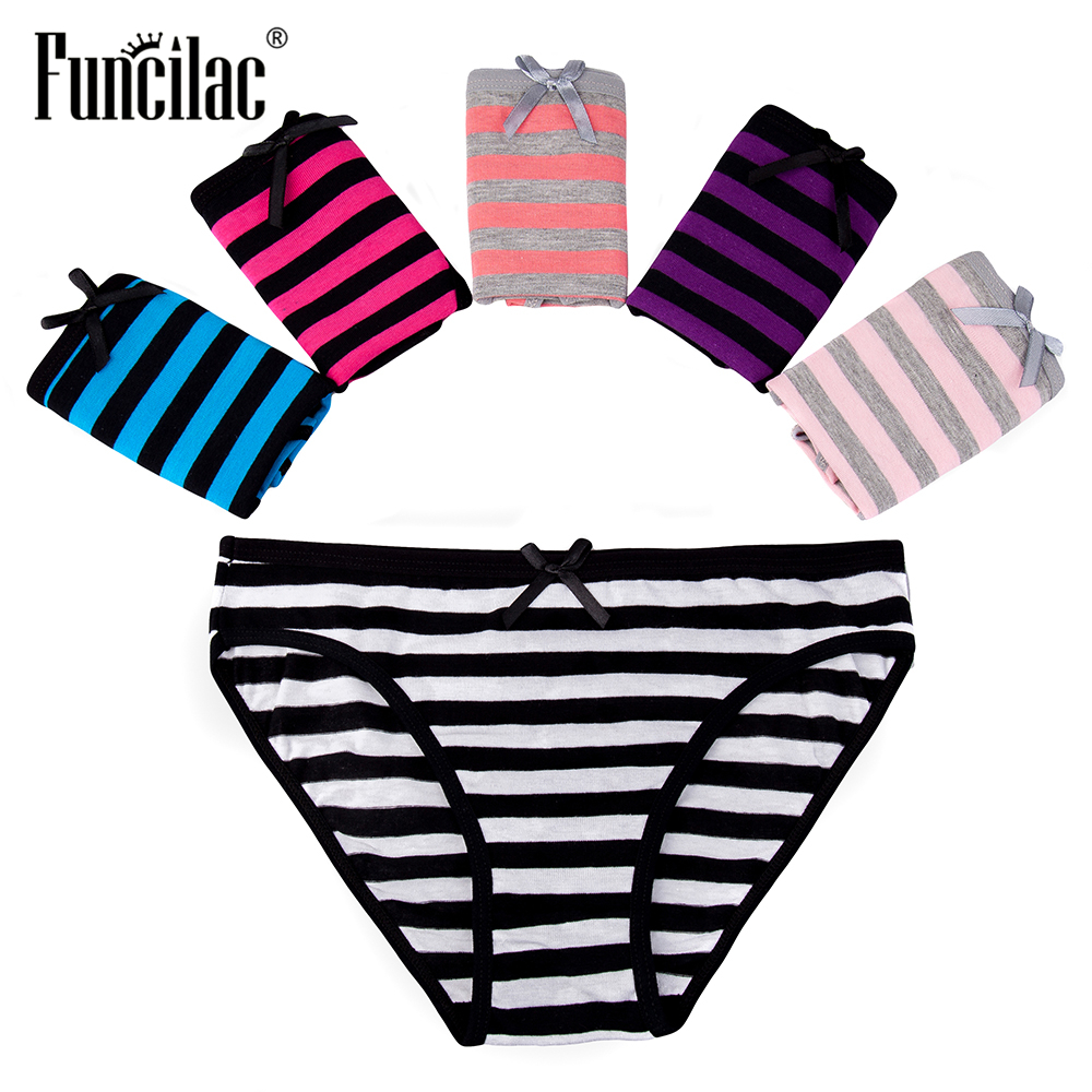 FUNCILAC Woman Underwear Cotton Briefs Sexy Ladies   Panties   Low Rise Intimates Striped Lingerie for Women Plus Size 5 Pcs/set