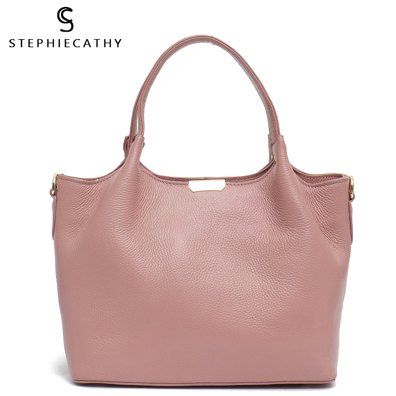 SC 100 Genuine Leather Bucket Bag Women casual Tote top handle Shoulder Bags Brand Designer Ladies
