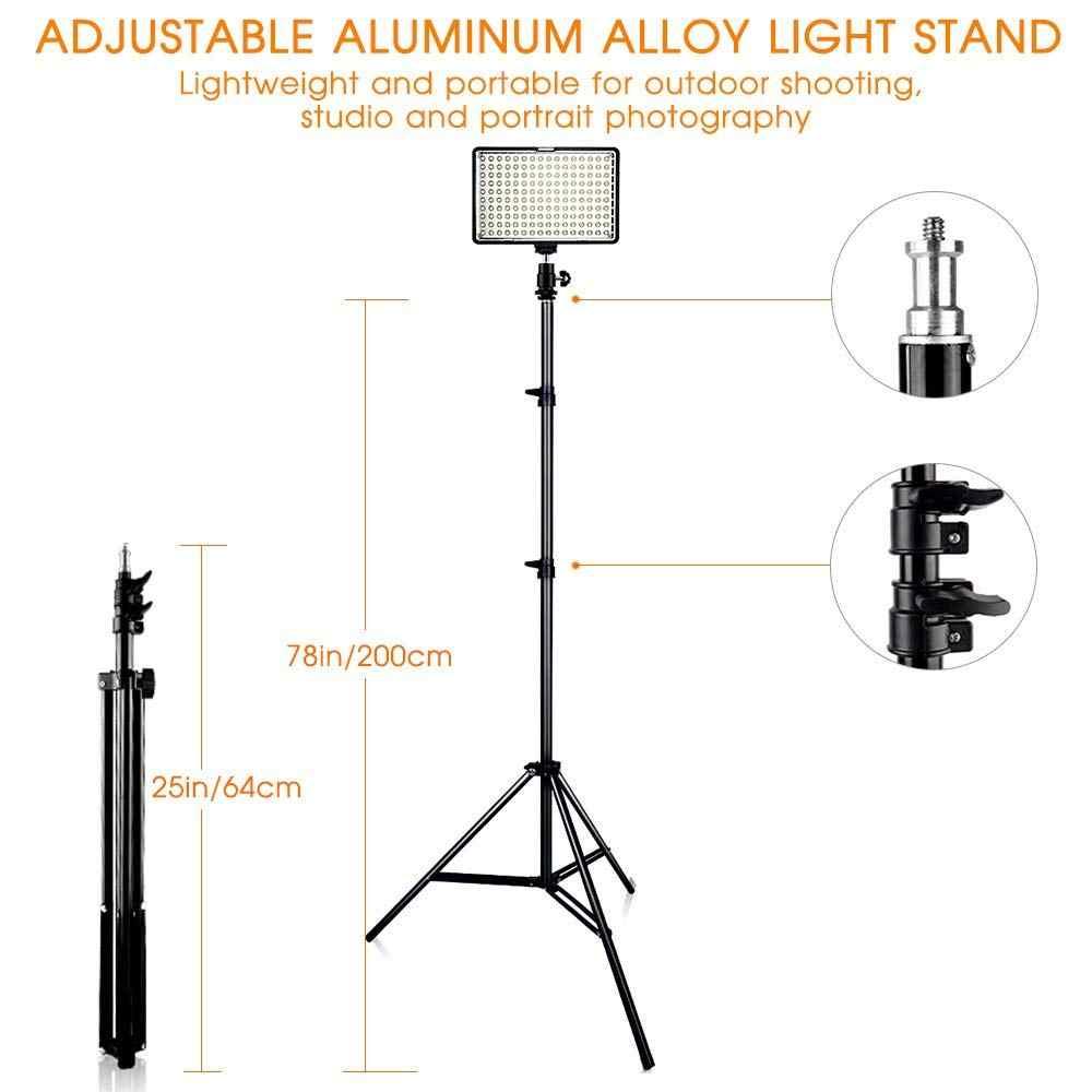 Kit de luz LED para vídeo Travor 2 en 1 TL-160 con soporte de luz de 78 pulgadas 3200 K/5500 K panel de luz de vídeo para videocámara con batería