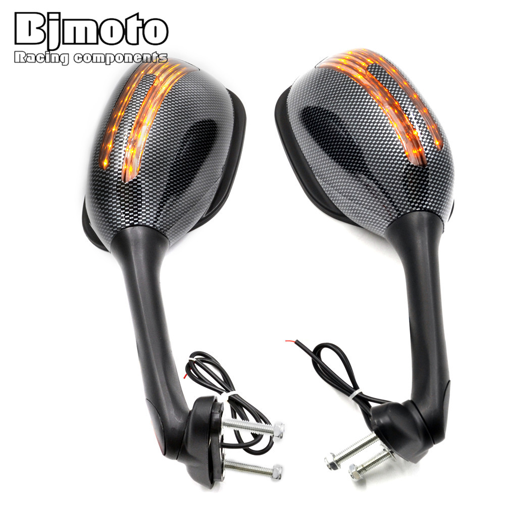 BJMOTO Motorcycle Side Mirrors with Turn Signals Light Sport Bike Rearview Mirrors For Suzuki GSXR 1000