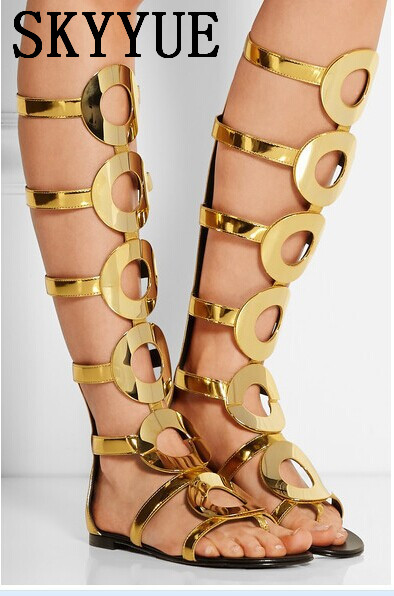 2018 New Gold Rome Gladiator Knee HIgh Summer Sandal Boots Open Toe zip Back Low Heel Women Sandals Party