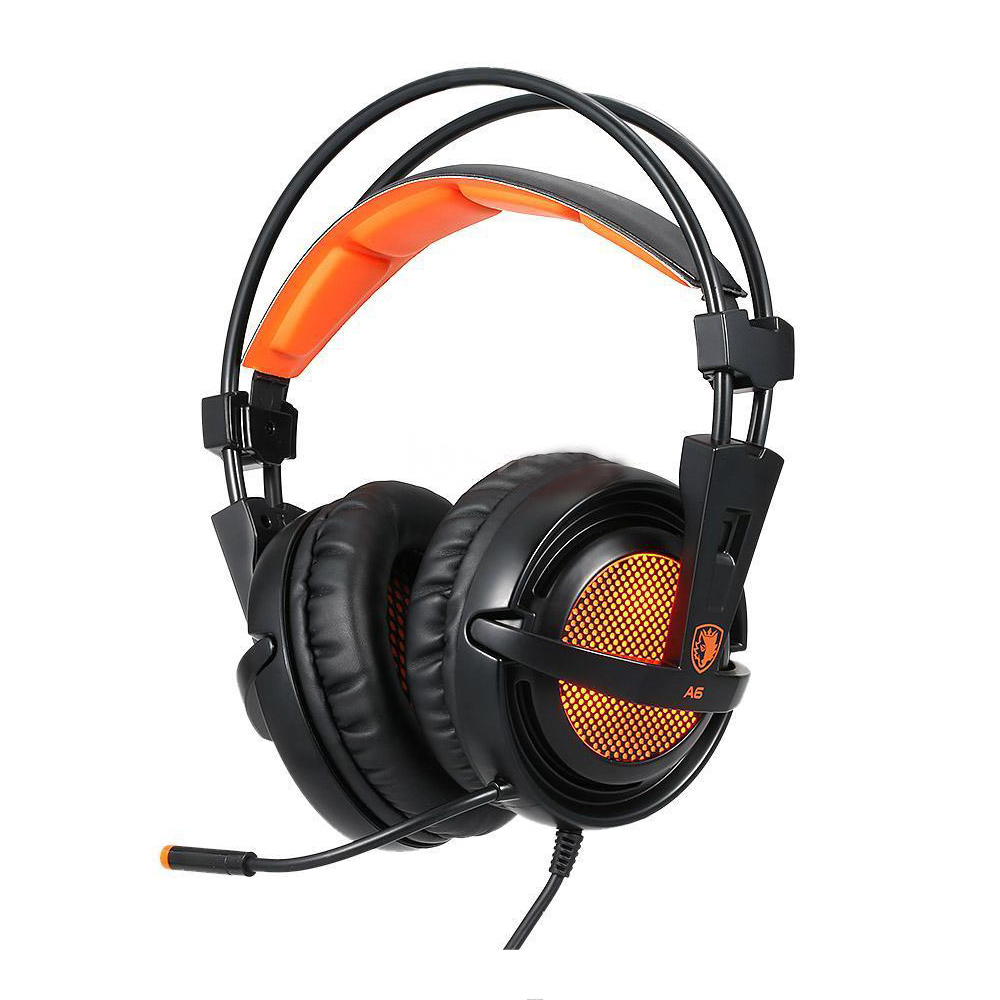Genuine SADES A6 Stereo 7.1 Pro Gaming Headset Headphone Earphone with Mic each g1100 shake e sports gaming mic led light headset headphone casque with 7 1 heavy bass surround sound for pc gamer
