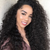 13x6 Glueless Lace Front Human Hair Wigs For Women 250% Density Kinky Curly Black Brazilian Lace Front Wig Virgin Ever Beauty