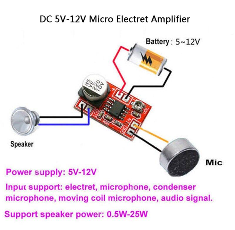 DC 5 V-12 V микро электретный усилитель микрофон конденсаторный мини-микрофон Плата усилителя