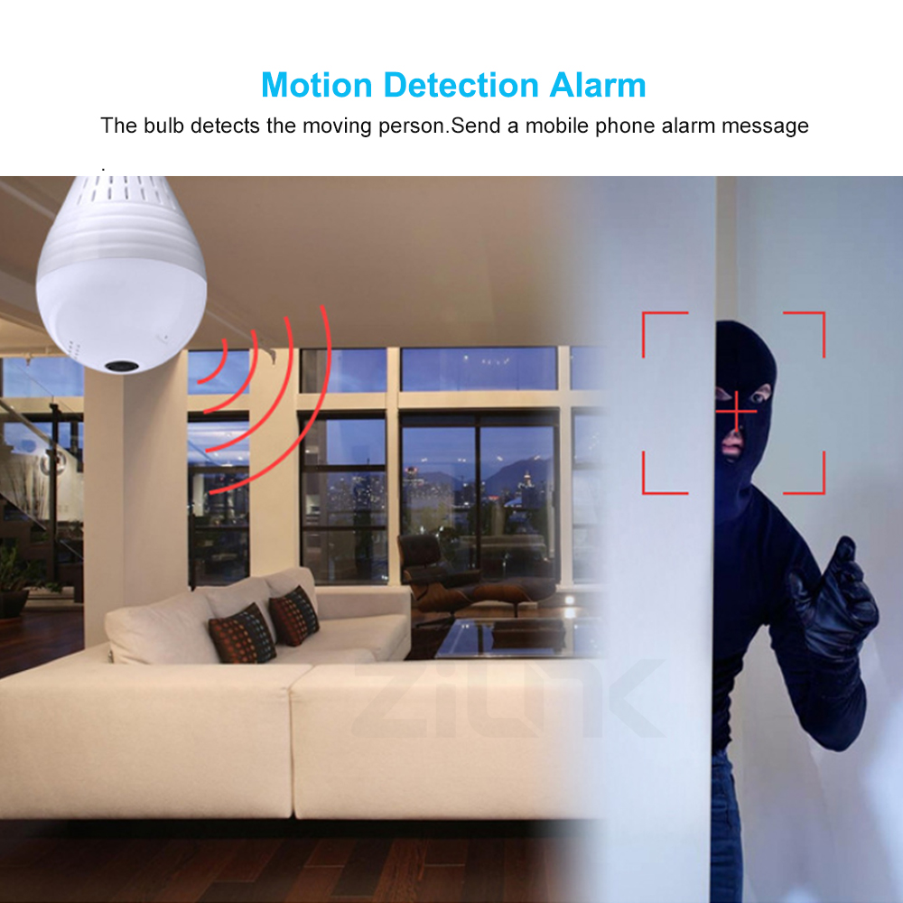 ZILNK Panoramic 360 Degree Bulb Light IP Camera Wireless Wifi FishEye Lens 1080P HD Lamp Camera Indoor Home Security Cloud