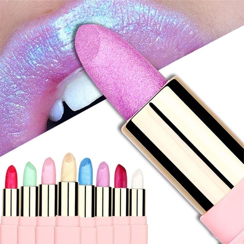Colorful Shimmer Glitter Lipstick Waterproof Long Lasting Shiny Metallic Lip Stick Beauty Lip Makeup Cosmetics Lipstick Pink Red