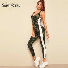Letter Tape Striped Side Jumpsuit