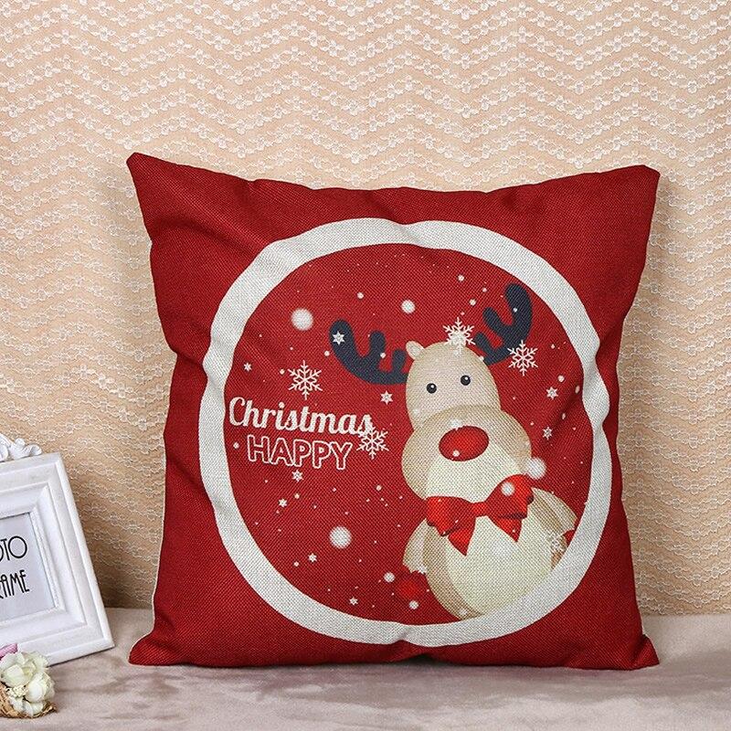 Лен Рождество Лось Санта Клаус Чехлы для подушек Наволочки Пледы Наволочки для Гостиная номер Домашний Декор F